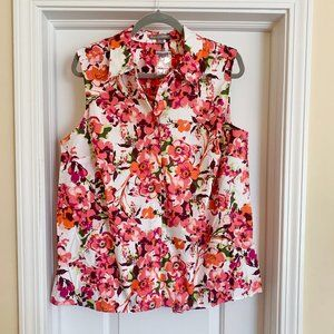 Size 18W Jessica London Floral Sleeveless Blouse
